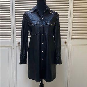 Black studded faux leather shirt dress